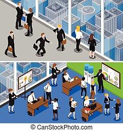 Empresarios 2 estandartes isométricos