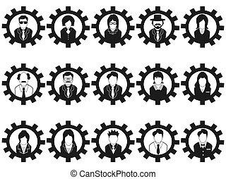 empresarios, avatar, engranaje, iconos
