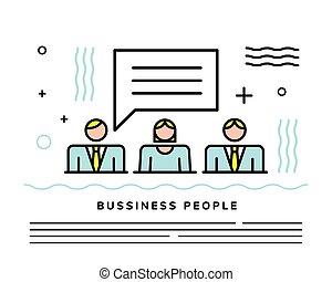 empresarios, burbuja, discurso, equipo
