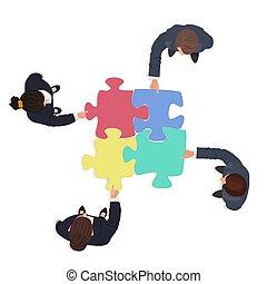 Empresarios con piezas de rompecabezas. El concepto de solución financiera.