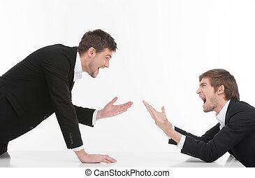 empresarios, confrontation., enojado, hombres, aislado, dos, gritos, mientras, joven, blanco, el gesticular