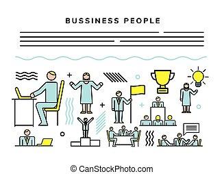 empresarios, conjunto, iconos, equipo