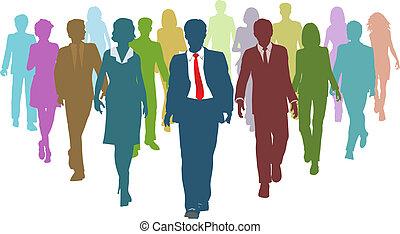 empresarios, diverso, humano, líder del equipo, recursos