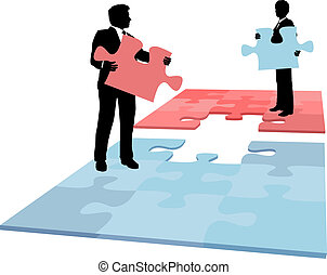 empresarios, fusión, colaboración, solución, pedazo, rompecabezas