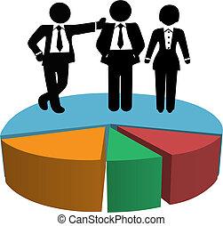 empresarios, ganancia, gráfico, pastel, ventas, crecimiento, equipo