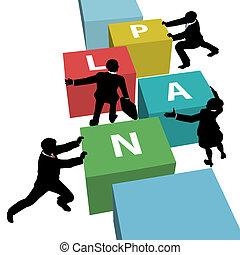empresarios, juntos, plan, equipo, empujón