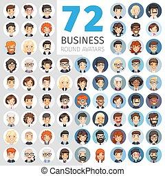 Empresarios planos rodean avatares grandes