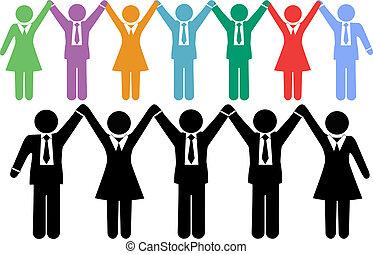 empresarios, símbolos, manos de valor en cartera, celebrar