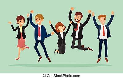 empresarios, saltar, caricatura, éxito, celebrar, ilustración