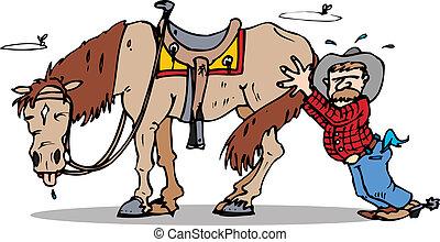 empujón, comienzo, caballo
