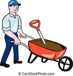 empujar, caricatura, jardinero, carretilla