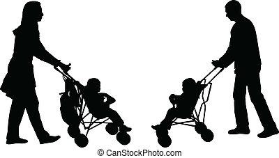 empujar, padres, cochecitos