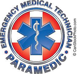 emt, médico, diseño, cruz, paramédico