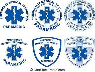 emt, médico, diseños, paramédico