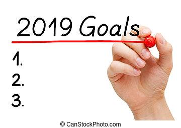 En blanco año 2019 concepto de lista de objetivos