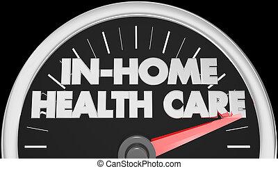 En casa, velocímetro de salud, palabras de ilustración 3D