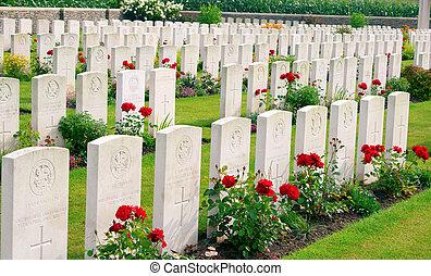 En el cementerio Bedford, la guerra mundial ypres flander belgium