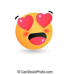 En el emoticono del amor. Ilustración vectorial aislada sobre fondo blanco