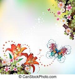 En el fondo con flores