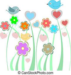En el fondo con lindas aves y flores