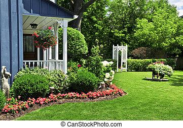 En el patio de una casa