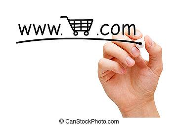 en línea, carrito, concepto, compras