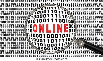 en línea, -, frente, llenado, aumentar, código binario, negro, mostrar, pantalla, blanco rojo, letras, vidrio