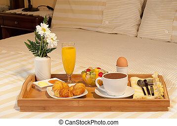 en, la, bandeja, de, desayuno, cama