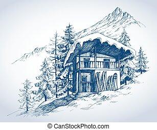 En la cabaña de la montaña