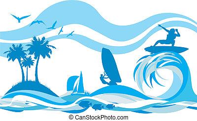 En la ola, deportes acuáticos y recr