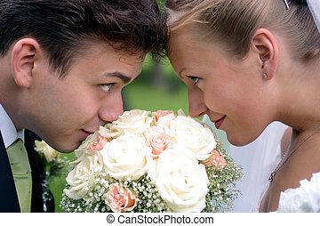 En la pareja recién casada