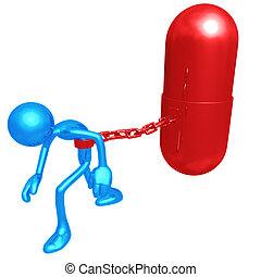 Encadenado a una píldora gigante
