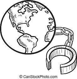 Encadenado al bosquejo terrestre