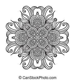 encaje, patrón, contemporáneo, mantelito, floral, redondo
