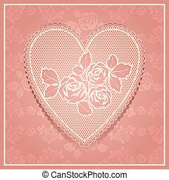 encaje rosado en forma de corazón