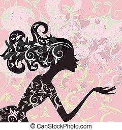 encanto, pelo, niña, ornamento
