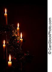 encendió velas, feriado, navidad, acebo