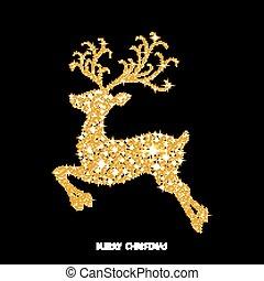 encendido, adornado, navidad, reno, dorado, sparks.