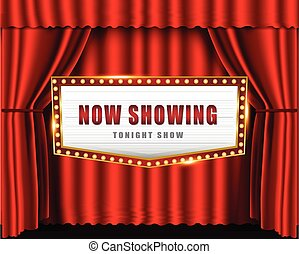 encendido, señal, cine, brillantemente, teatro, retro, neón