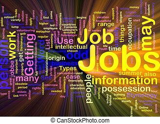 encendido, trabajos, plano de fondo, empleo, concepto