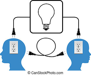 Enchufa a la gente en conexión a la luz