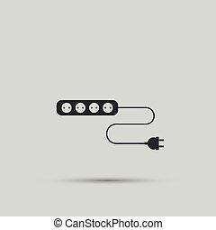 enchufe, enchufe, vector, diseño, alambre, eléctrico
