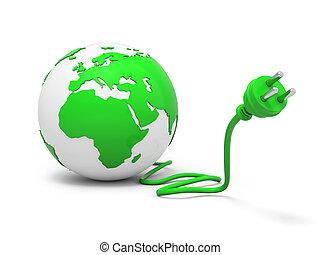 enchufe, globo, verde