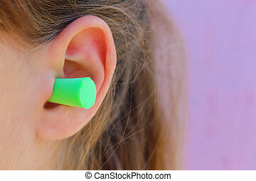enchufes, noise., contra, proteger, oreja