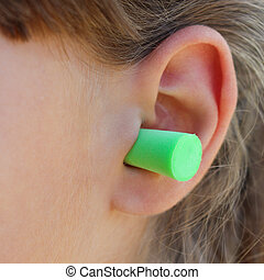 enchufes, noise., oreja, proteger, contra