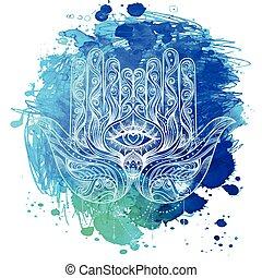 encima, amulet., acuarelas, dibujado, florido, hamsa., árabe, vector, ilustración, mano, judío, colorido, popular