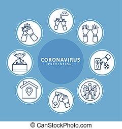 encima, azul, iconos, plano de fondo, marcos, circular, prevención, covid19