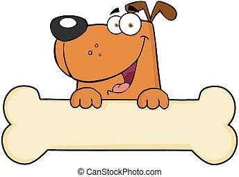 encima, bandera, caricatura, hueso, perro