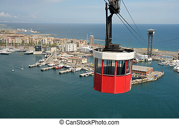 encima, barcelona, puerto, españa, cablecar