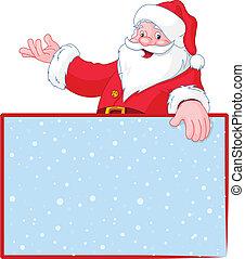 encima, claus, santa, g, navidad, blanco